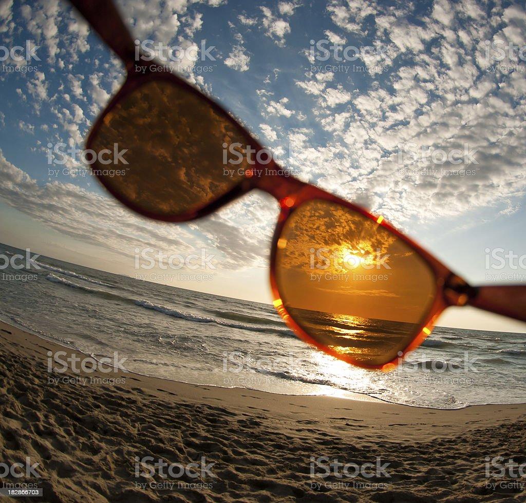 summer dusk through sun glasses stock photo
