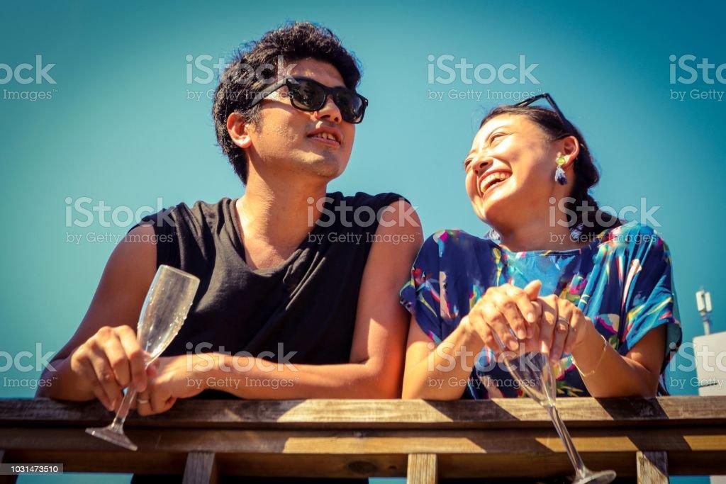 summer engagement stock photo