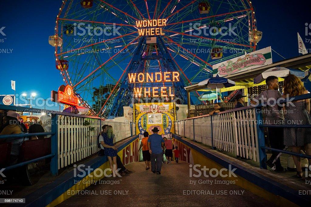 Summer evening at Luna Park on Coney Island stock photo