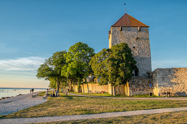 Summer evening in Visby, Sweden stock photo