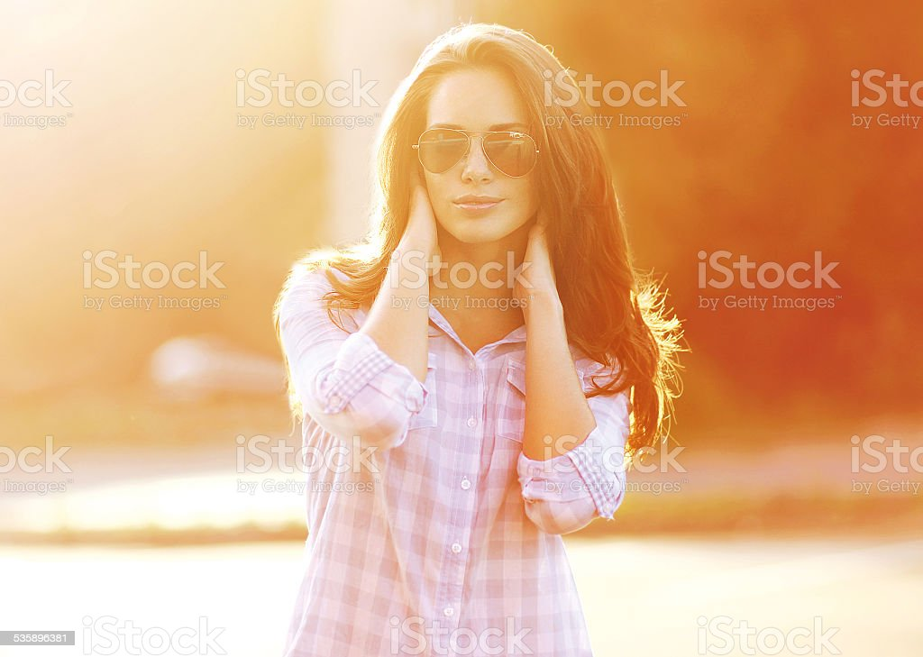 Summer, fashion and people concept - beautiful sensual woman in stock photo