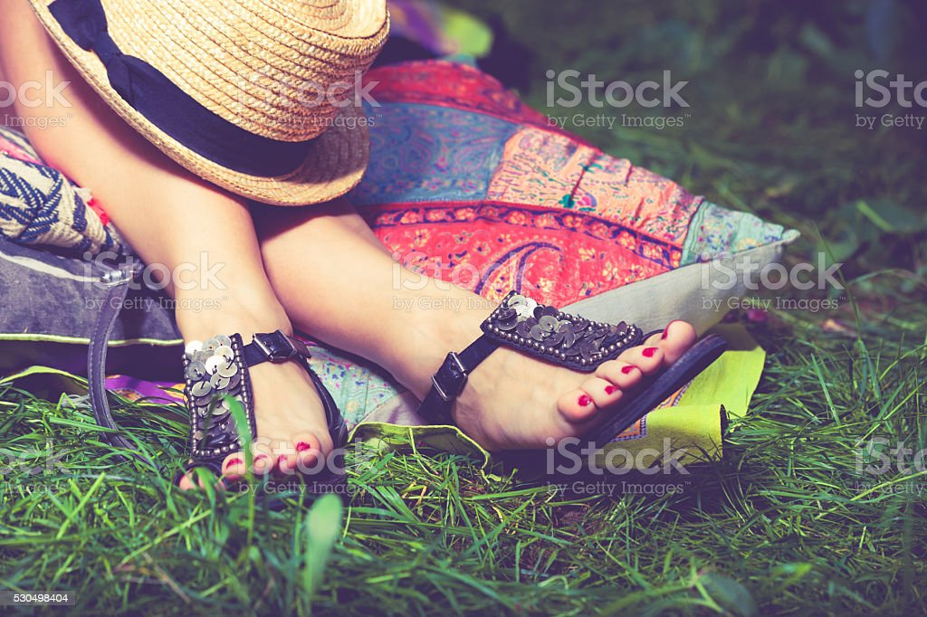 summer fashion sandals stock photo