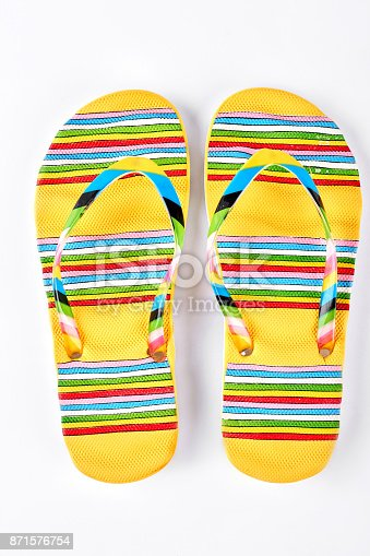 istock Summer fashion striped slippers. 871576754