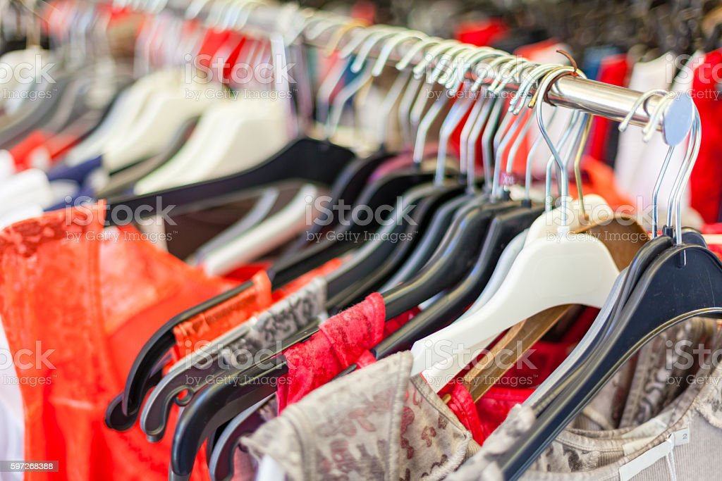 Summer Female Dresses at a Store royalty-free stock photo