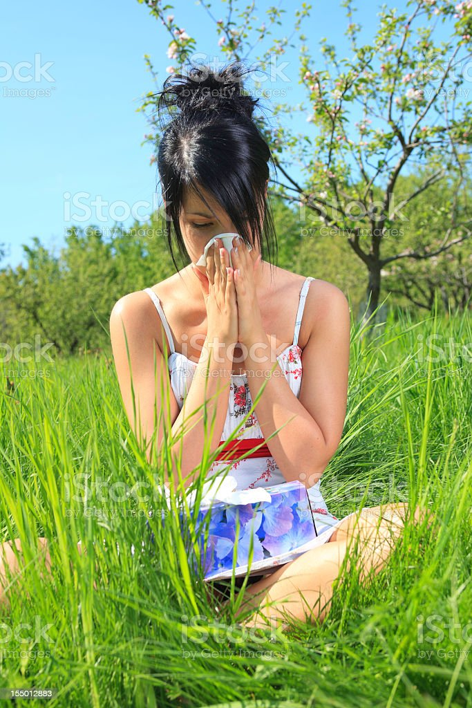 Summer Field - Woman Vertical Blow Nose royalty-free stock photo