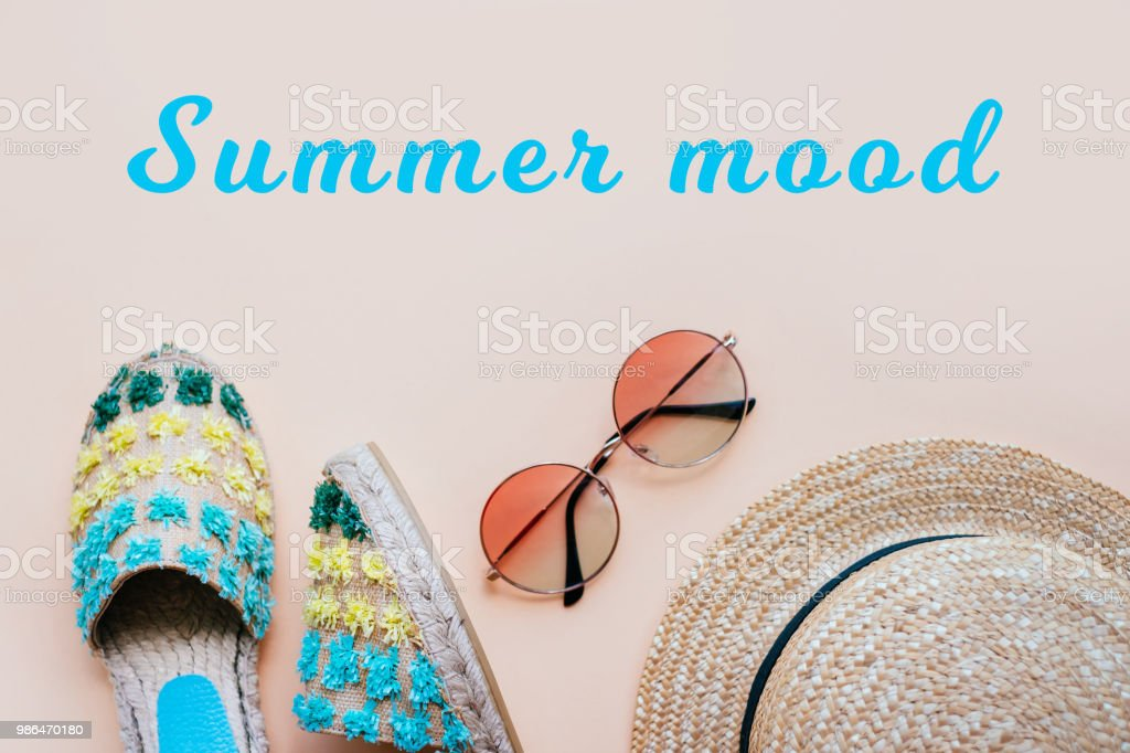 Summer flatay with espadrilles stock photo