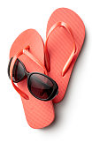 Summer: Flip-flops and Sunglasses Isolated on White Background