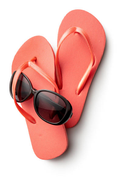 Summer: Flip-flops and Sunglasses Isolated on White Background stock photo