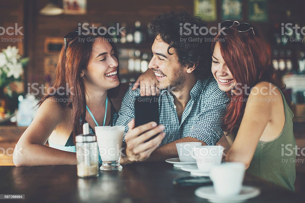 Summer flirt in cafe royalty-free stock photo