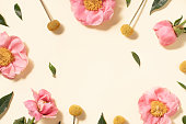 istock Summer flower flat lay on yellow background. Top view composition. 1247734975