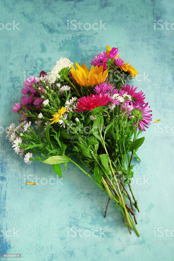 Summer Flowers Bouquet On Vintage Painted Background Stock Photo ...
