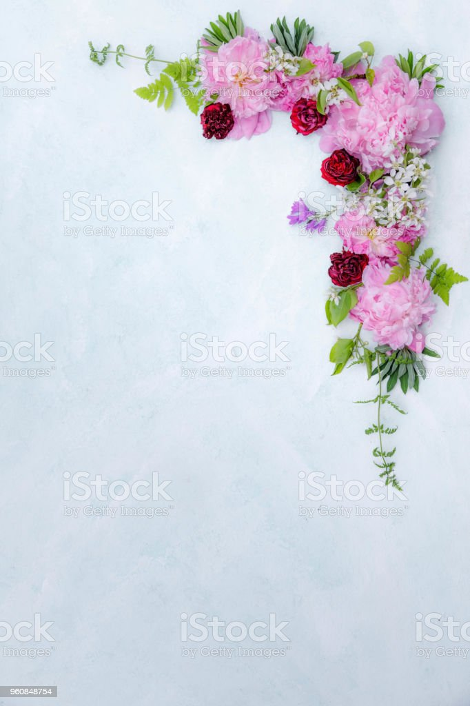Summer flowers composition stock photo