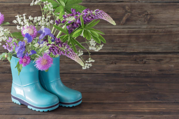 summer flowers in rubber boots on old dark wooden background stock photo