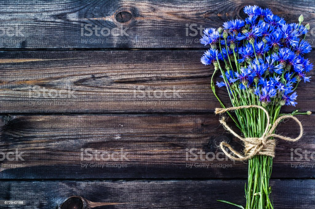 Summer flowers on wood, vintage style, copy space stock photo