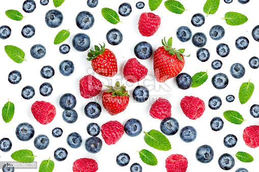 827935944 istock photo Summer Food Pattern with Fresh berries isolated on white background, top view. Strawberry, raspberry, mint leaf. Mix Berry  Flat lay. 1208536220