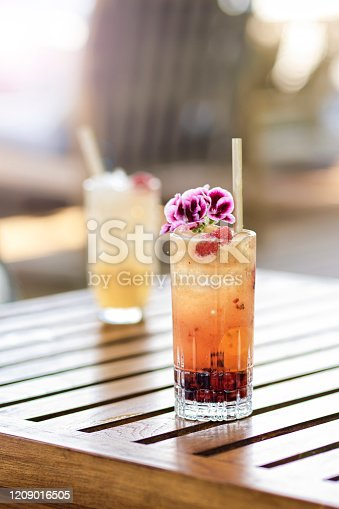 Summer fresh cocktails on tropical vacation