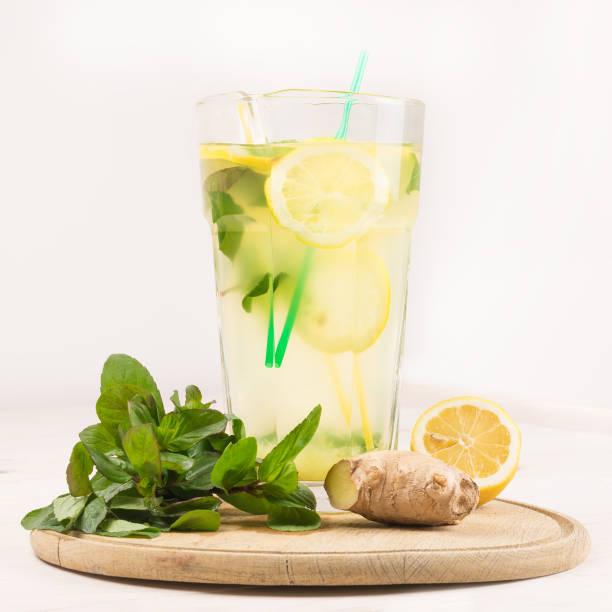 Summer fresh lemonade from lemons, mint and ginger. Detox Water stock photo
