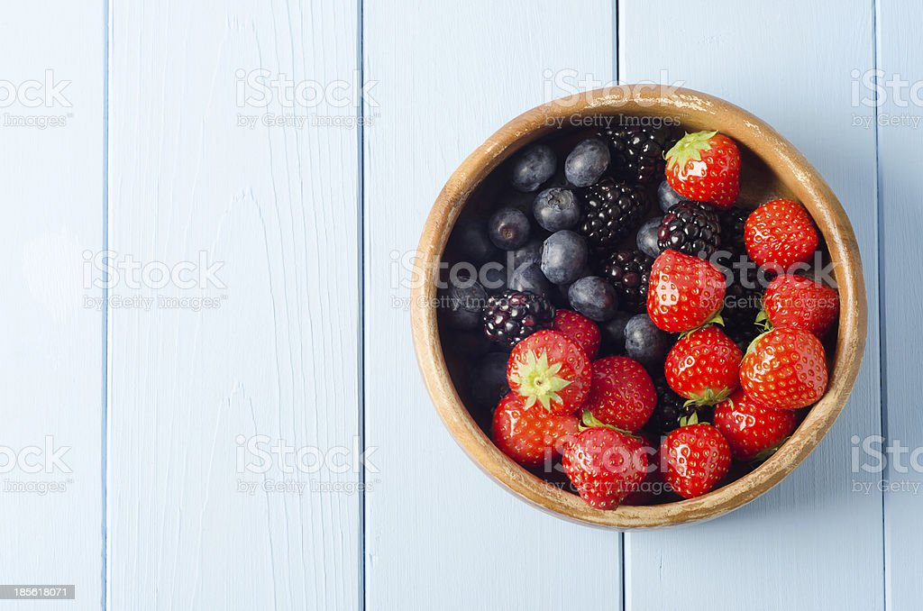 Summer Fruit Bowl Overhead stock photo