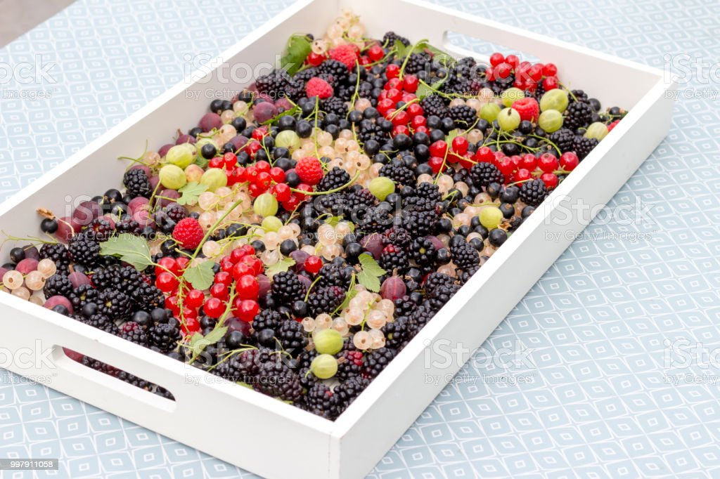 Summer fruit on a serving tray stock photo
