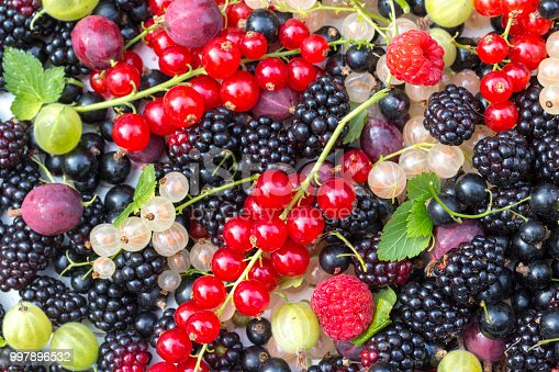 Currents, black currants, gooseberries, white currants, and raspberries just after picking on a white serving tree on a table outdoors in summer. Ready for preparing food as jam and fruit sauces. Healthy food with vitamins.