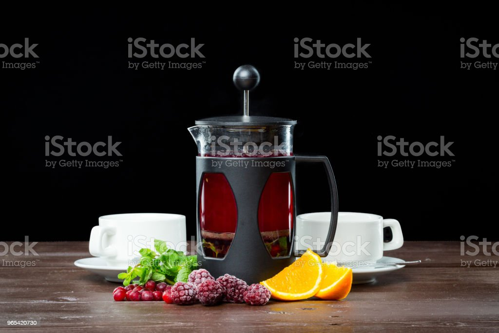 Summer Fruit tea with berries royalty-free stock photo