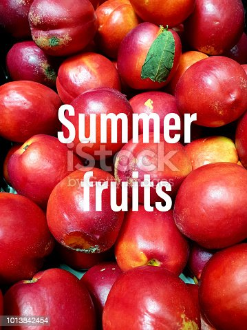 Summer fruits concept with text
