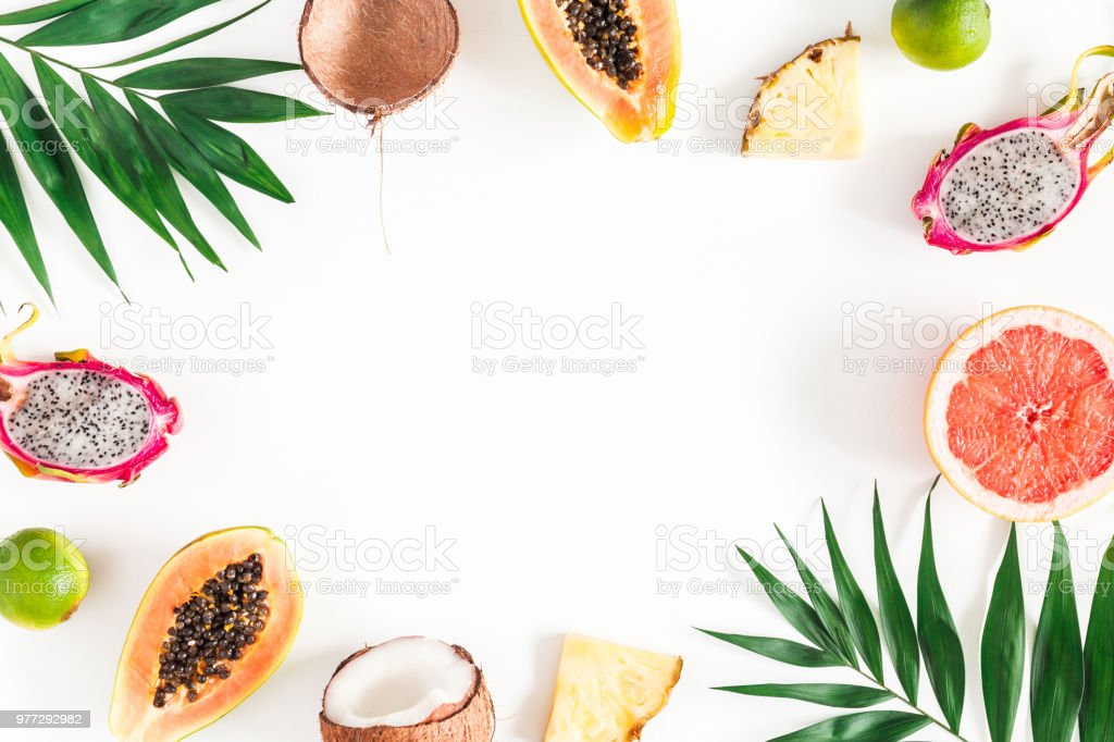 Summer fruits on white background. Flat lay, top view stock photo