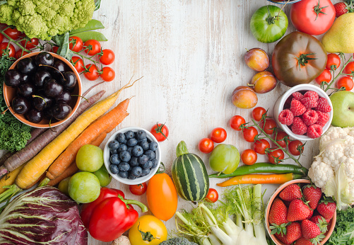 istock Summer fruits vegetables on table 1059357526