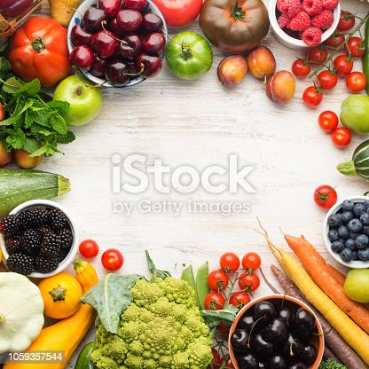 istock Summer fruits vegetables on table 1059357544