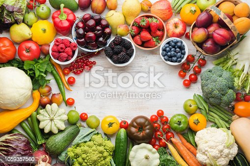 istock Summer fruits vegetables on table 1059357560