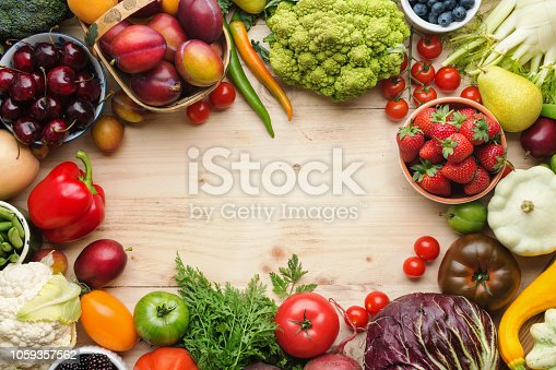 istock Summer fruits vegetables on table 1059357562