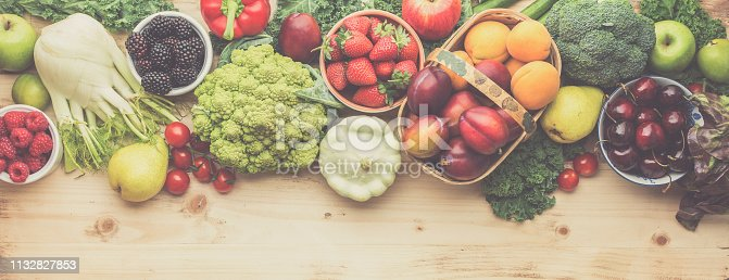 Fresh farm produce, organic vegetables on wooden pine table, healthy background, copy space for text, top view, toned, long photo banner, selective focus