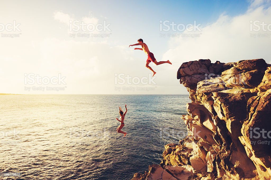 Summer Fun, Cliff Jumping royalty-free stock photo