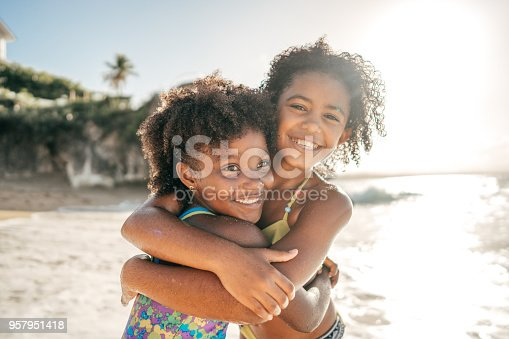 Happy girls on the beach