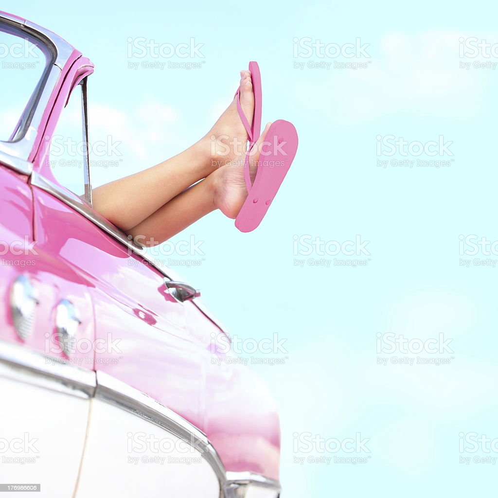 Summer fun vintage car stock photo