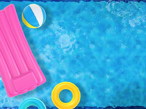 diversão de verão com brinquedos na piscina insuflável vista de cima flutuante - brinquedos na piscina imagens e fotografias de stock