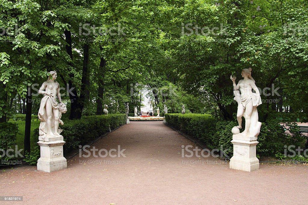 Summer gardens park in Saint Petersburg royalty-free stock photo