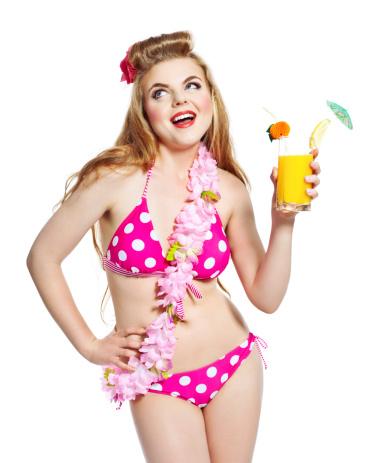 Summer Girl With Orange Juice Studio Portrait Stock Photo - Download Image Now