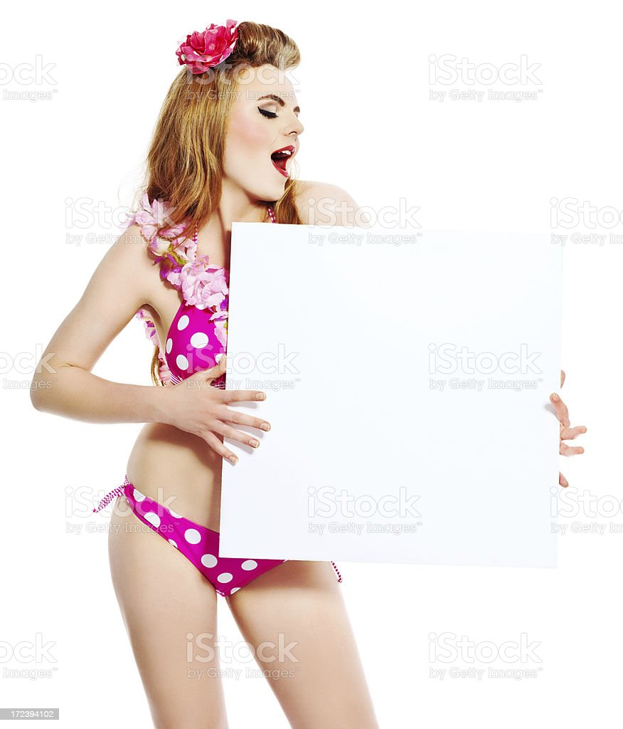 Summer Girl with Whiteboard Portrait of excited young woman wearing flower garlands and bikini, holding a whiteboard in hands. 18-19 Years Stock Photo