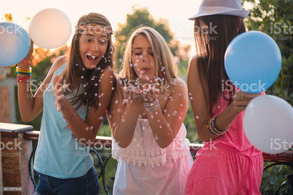 Summer girls party on balcony stock photo