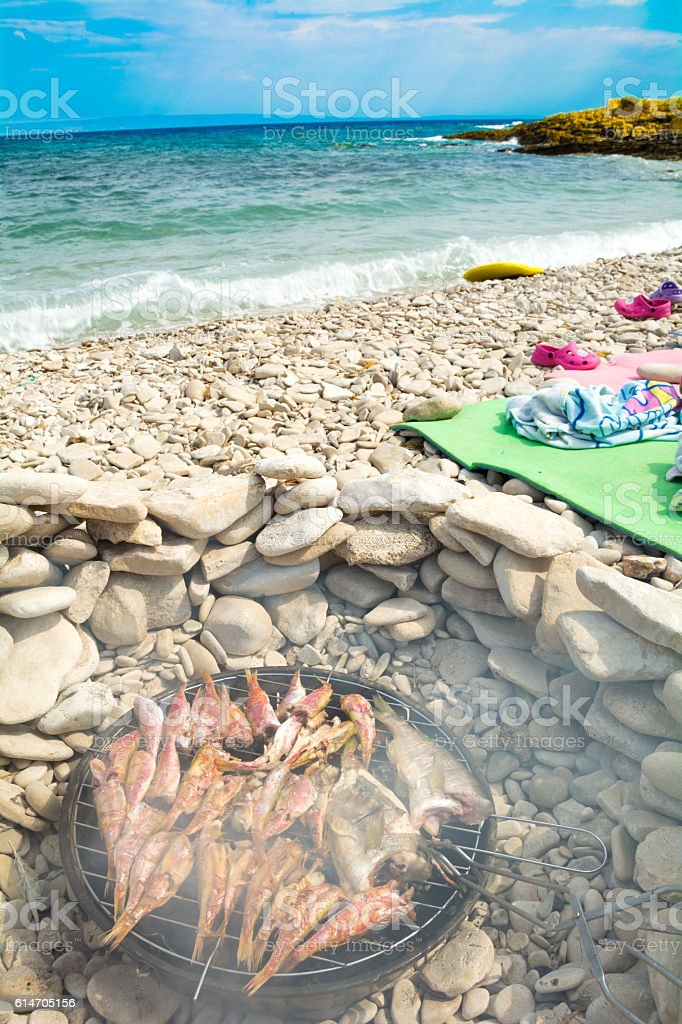 Summer grill at seaside stock photo