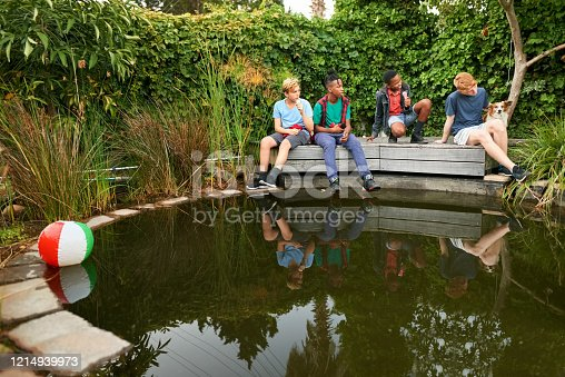 Shot of group of young boys sitting on a wooden deck by a small pond