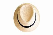 白い背景に、コピー領域の夏帽子、ストロー ハット isolatd