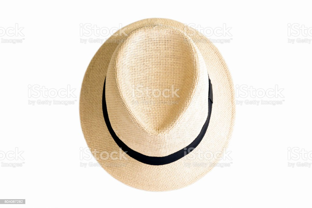 Summer hat, straw hat isolatd on white background, copy space stock photo