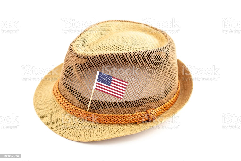 Summer hat with the national flag of the USA stock photo