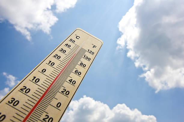 Summer heat shown on mercury thermometer stock photo