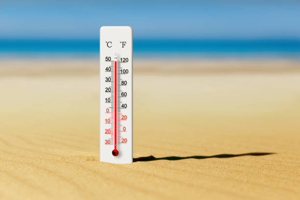 Summer heat. Thermometer in the sand shows plus 50 degrees celsius. Sea coast at hot summer day stock photo