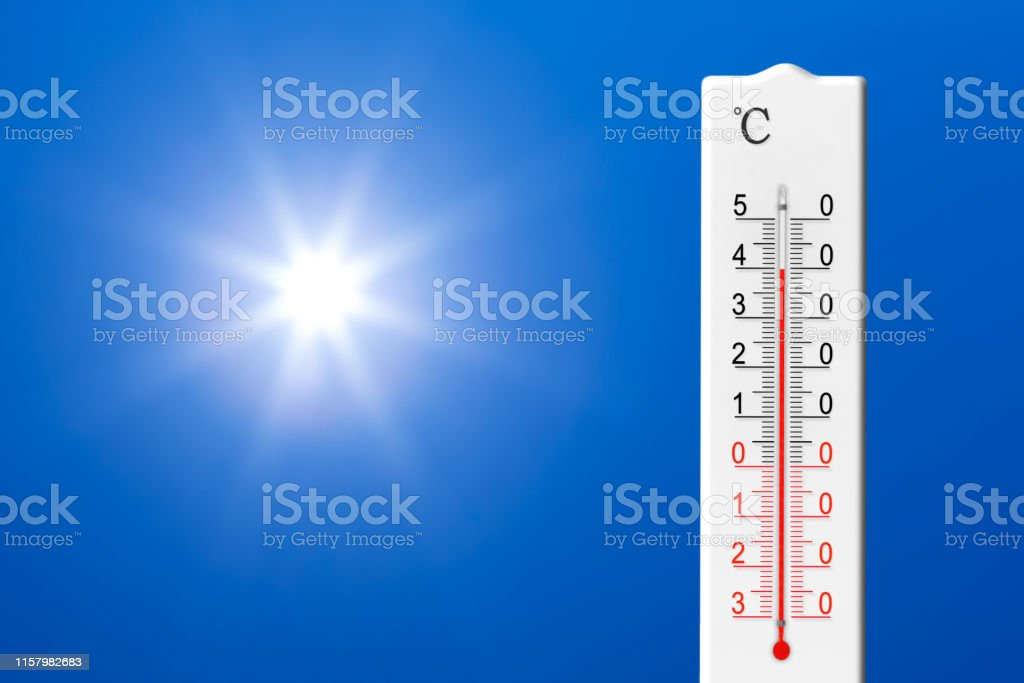 Summer heat. Thermometer shows high temperature in summer. Ambient...