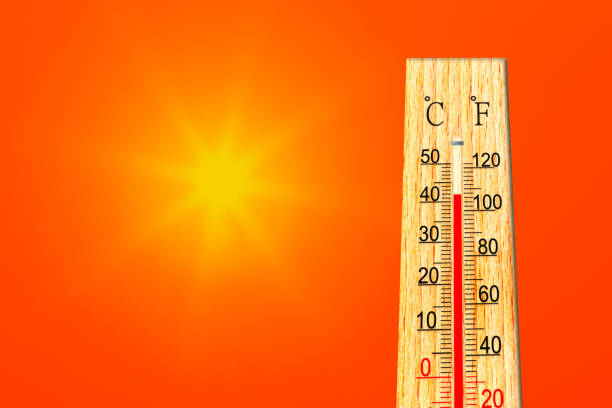 Summer heat. Thermometer shows high temperature in summer. Ambient temperature plus 42 degrees celsius stock photo