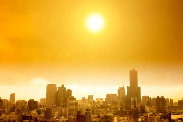 summer heat wave in the city stock photo